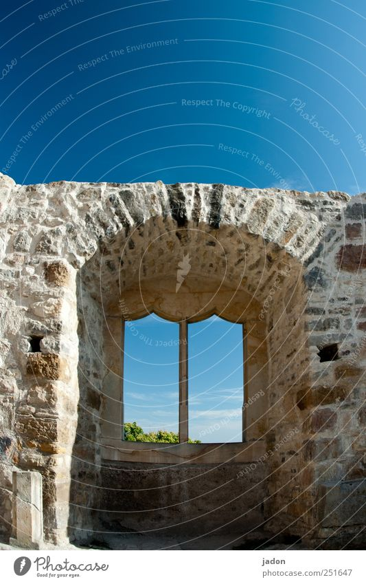 window to the sky. Living or residing House (Residential Structure) Dream house House building Redecorate Cloudless sky Ruin Manmade structures Building