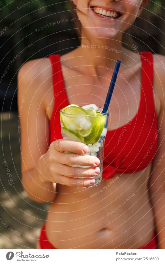 Young woman Summer Red Eroticism Art Party Esthetic Beverage Delicious Summer vacation Party goer Refreshment Bikini Alcoholic drinks Alcohol-fueled Summery