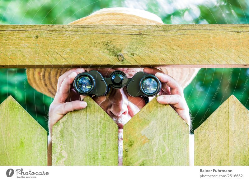 a curious neighbour observes with binoculars Human being Masculine Man Adults Male senior 1 Nature Garden Park Hat Straw hat Observe Threat Curiosity Discordant