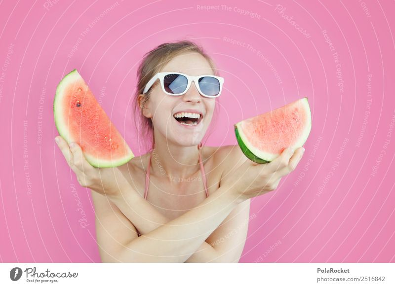 #A# Pink Red Water Art Esthetic Derby Melon Melone slice Summer Summer vacation Summery Summer's day Fruit Refreshment Colour photo Multicoloured Interior shot