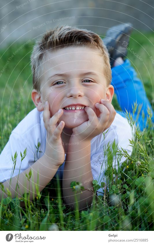 Pensive funny kid lying on the grass Joy Happy Beautiful Face Freedom Summer Garden Child Human being Boy (child) Man Adults Infancy Nature Flower Grass Leaf