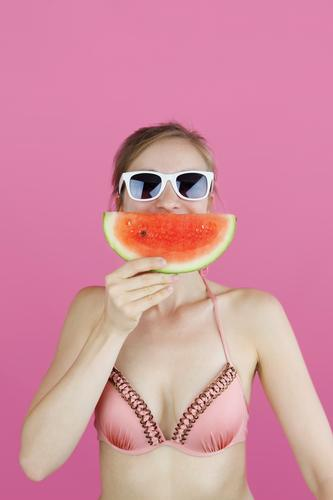 Human being Vacation & Travel Summer Eroticism Funny Laughter Playing Fashion Party Swimming & Bathing Pink Esthetic Summer vacation Graphic Bikini Summery