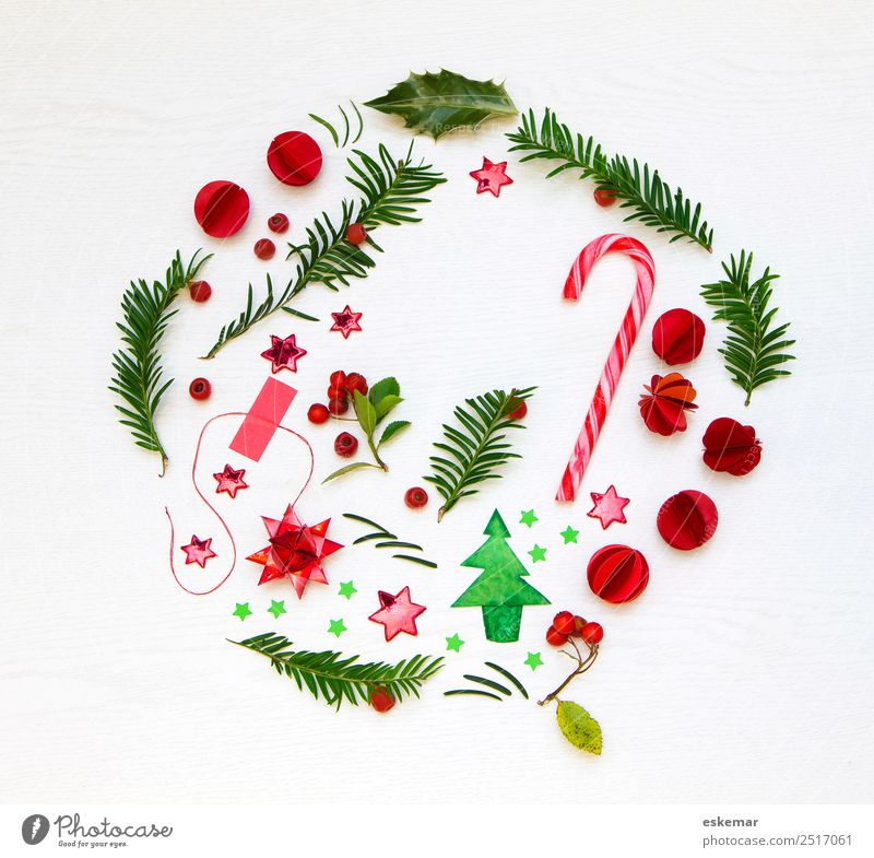 christmas flatlay Candy cane Feasts & Celebrations Christmas & Advent Plant Tree Leaf Holly leaf Ilex Fir tree Fir branch Christmas tree Wood Sign Star (Symbol)