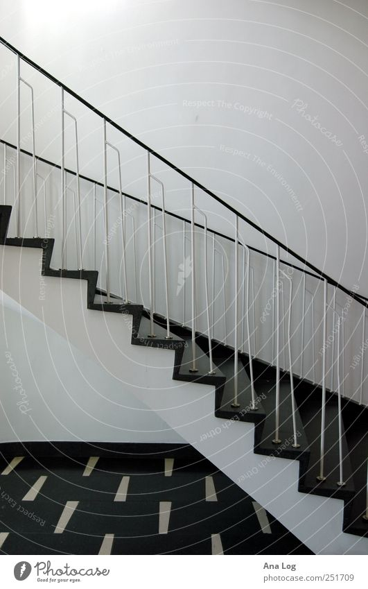 diagonal in black and white Elegant Style Manmade structures Building Architecture Stairs Stone Metal Sharp-edged Infinity Many Black White Black & white photo