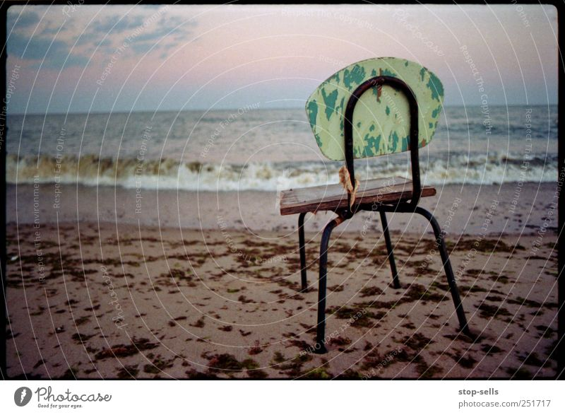 Stool at the lake Environment Nature Sand Air Water Sky Sunrise Sunset Waves Beach Ocean Sit Stand Wait Chair Empty Algae lake view Coast Swimming & Bathing