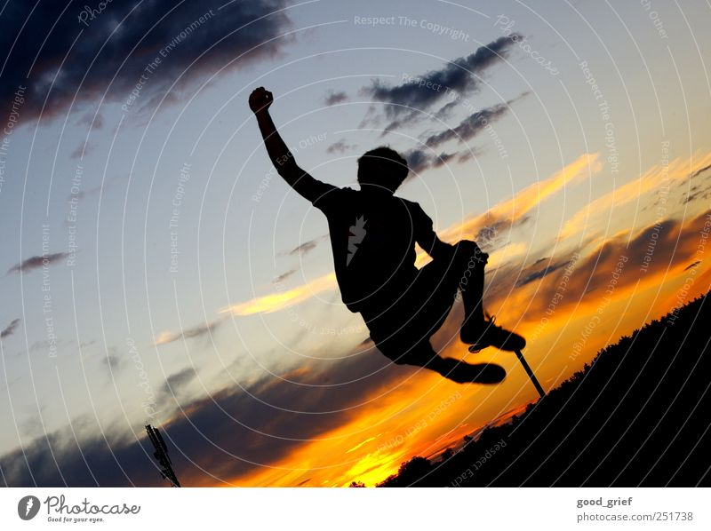Human being Sky Blue Hand Joy Clouds Black Yellow Garden Jump Baby animal Feasts & Celebrations Climbing Fitness Sports Training Mountaineering