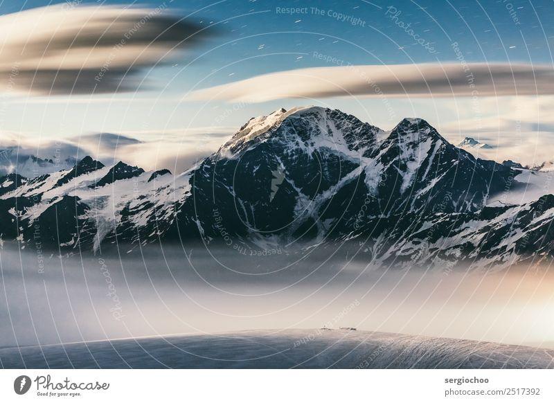 7 Winter Beautiful weather Ice Frost Snow Hill Rock Alps Mountain elbrus Peak Snowcapped peak Glacier Movement Stars Starry sky Starlit stellar Moonlight