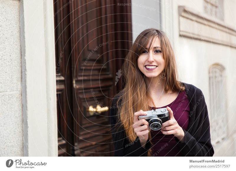young woman taking a picture Woman Beautiful Street Adults Lifestyle Style Happy Leisure and hobbies Europe Smiling Happiness Illustration Camera Tourist City