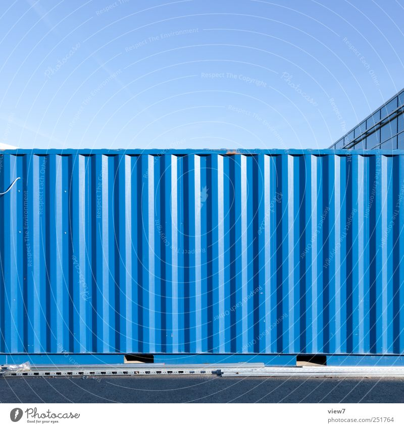 Old Blue Wall (building) Wall (barrier) Metal Line Elegant Facade Design Arrangement Modern Esthetic Authentic Industry Stripe Simple