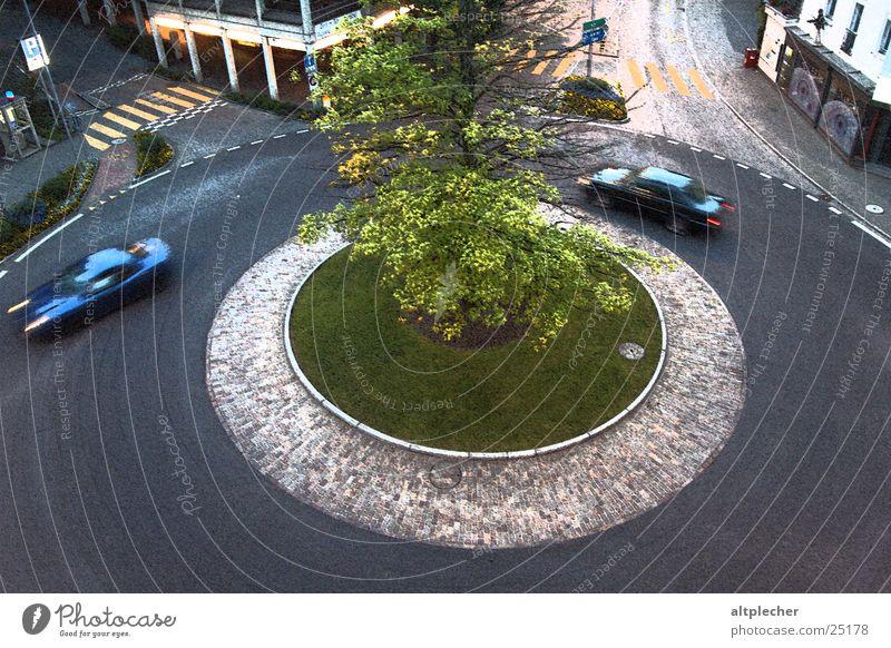 Swiss roundabout Transport Blur Zebra crossing Asphalt Twilight Circle Car Island Movement Paving stone