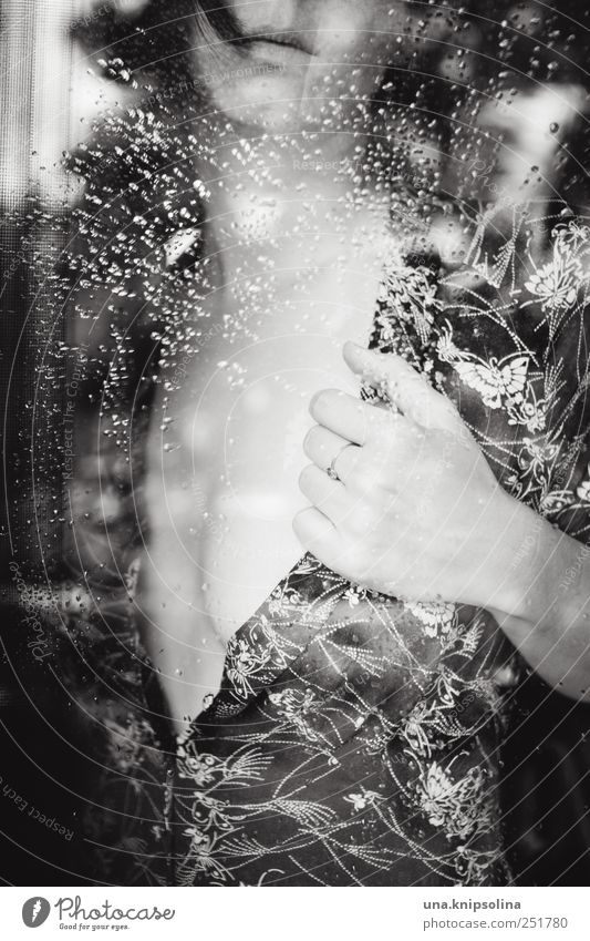 Woman Human being Youth (Young adults) Beautiful Feminine Window Eroticism Emotions Adults Dream Moody Rain Body Glass Wait Drops of water