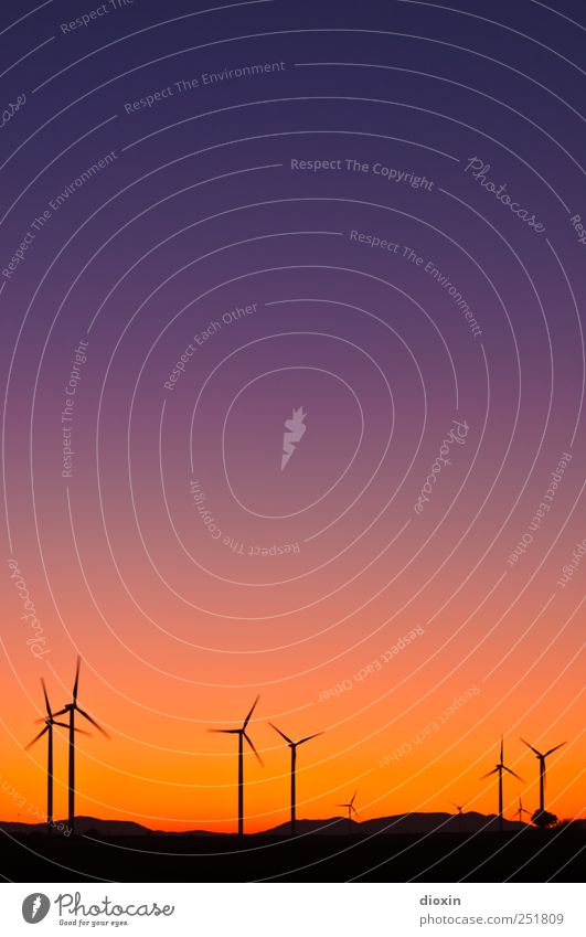 Sky Environment Landscape Tall Energy Large Climate Energy industry Technology Hill Wind energy plant Rotate Beautiful weather Cloudless sky Renewable energy