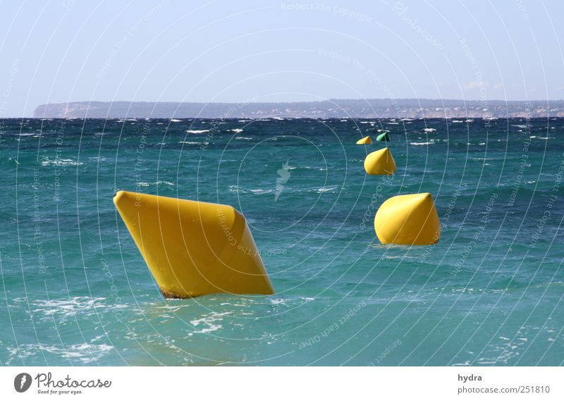 four in a row Vacation & Travel Summer vacation Ocean Waves fairway buoy Buoy Water Sky Cloudless sky Beautiful weather Coast Waterway Plastic