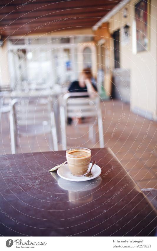 ä gläßchen heeßen Beverage Hot drink Coffee Plate Glass Spoon Fluid Multicoloured Spain Saucer Table Chair Café au lait Tabletop Room Break Colour photo