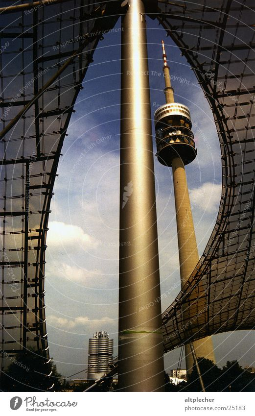Munich landmark Carrier Architecture Olympic centre tent roof BMW administration building Electricity pylon Television tower