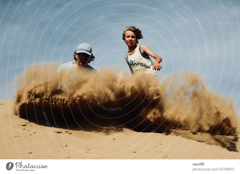Child Human being Sky Man Summer Blue Sun Adults Life Warmth Happy Boy (child) Together Brown Sand Horizon