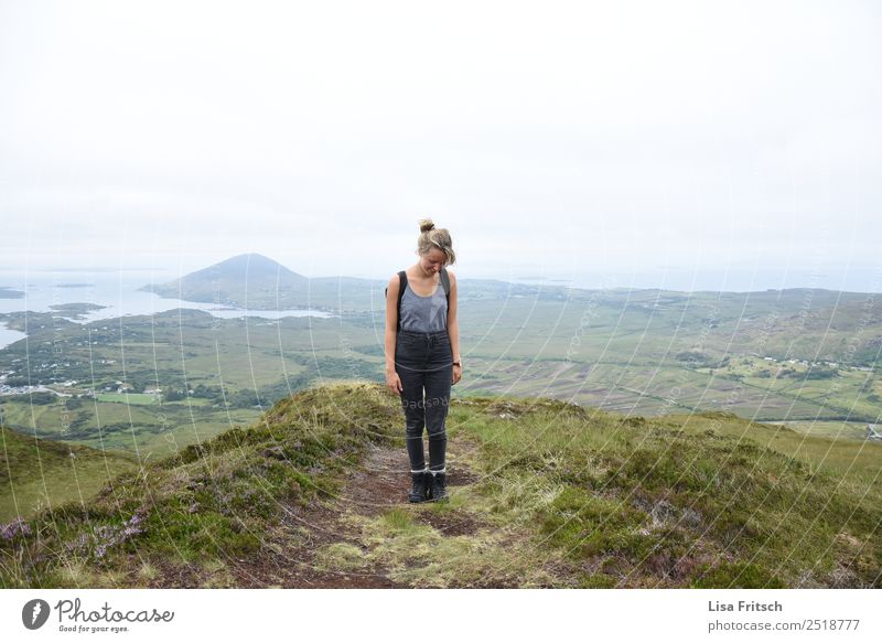 Woman Human being Nature Vacation & Travel Youth (Young adults) Landscape Far-off places Mountain 18 - 30 years Adults Meadow Happy Tourism Contentment Hiking