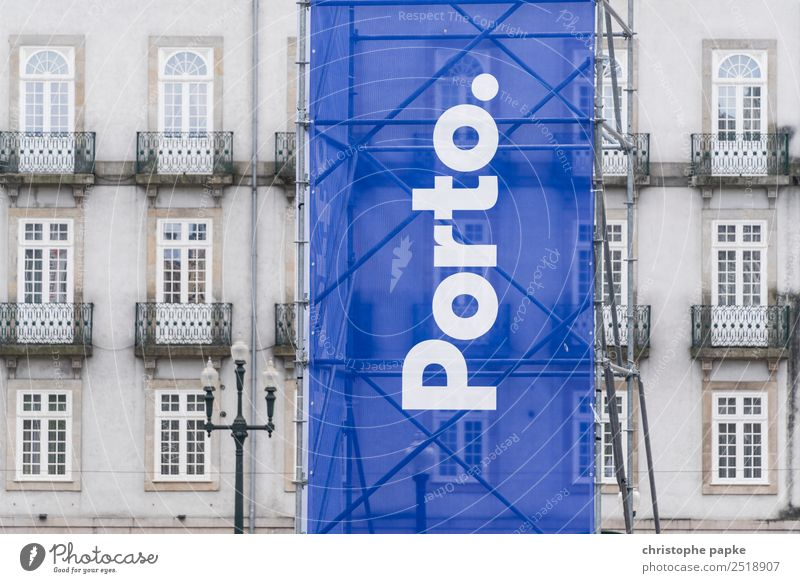 Banner saying postage Vacation & Travel City trip Porto Portugal Town Port City Downtown Old town Deserted House (Residential Structure) Facade Sign Characters