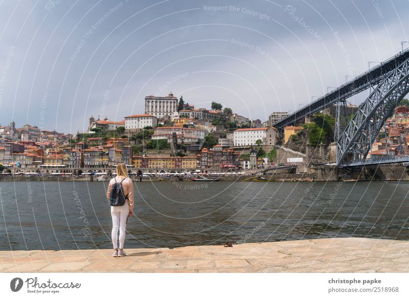 Blonde woman looks at bridge in Porto Vacation & Travel Tourism Sightseeing City trip Summer Summer vacation Young woman Youth (Young adults) 1 Human being
