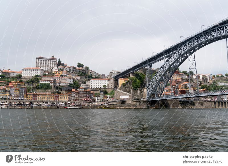 View to the old town Porto and Ponte Dom Luís I Vacation & Travel City trip Portugal Town Port City Downtown Outskirts Old town Skyline Deserted