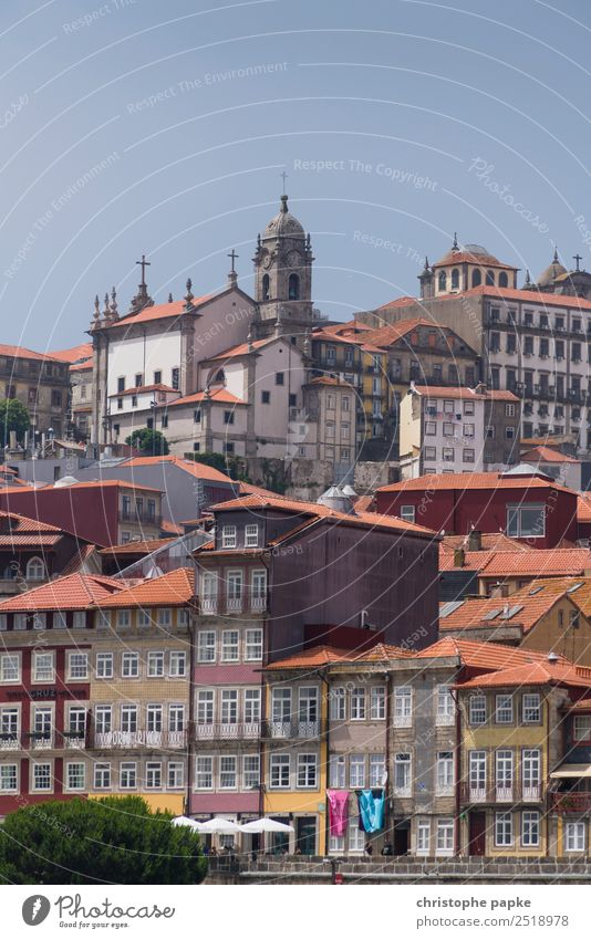 postage Vacation & Travel Trip Summer Summer vacation House (Residential Structure) Cloudless sky Beautiful weather Porto Portugal Town Downtown Old town