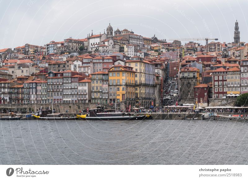 View of Porto's historic old town Vacation & Travel Trip City trip Sky Clouds Coast River bank Portugal Town Port City Downtown Old town Skyline