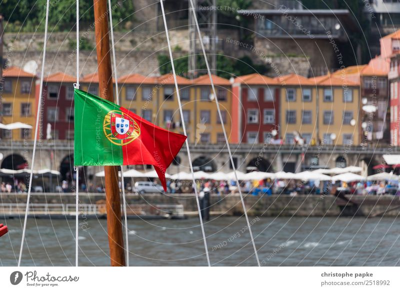 Portuguese flag on boat in front of old town of Porto / Portugal Vacation & Travel City trip Summer Summer vacation Town House (Residential Structure)