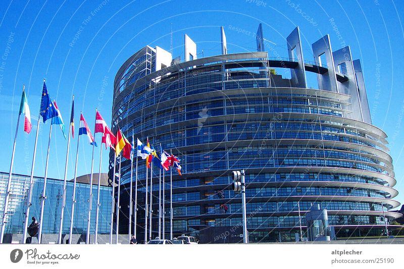 Building Architecture Glass Concrete Europe Modern Flag France Strasbourg Alsace