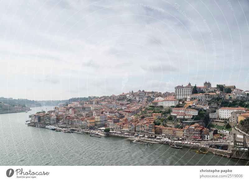 Postage day Sky Clouds River bank Porto Historic Douro Old town Vacation & Travel City trip Portugal Colour photo Exterior shot Copy Space top Day