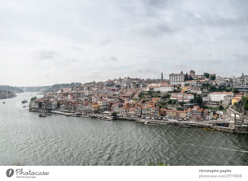 postage Vacation & Travel Far-off places Sightseeing City trip Water Sky Clouds Bad weather River bank Porto Portugal Europe Town Downtown Old town Skyline