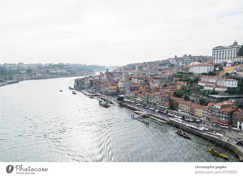 Douro and old town of Porto River bank Portugal Town Port City Downtown Outskirts Old town Skyline House (Residential Structure) Tourist Attraction Historic