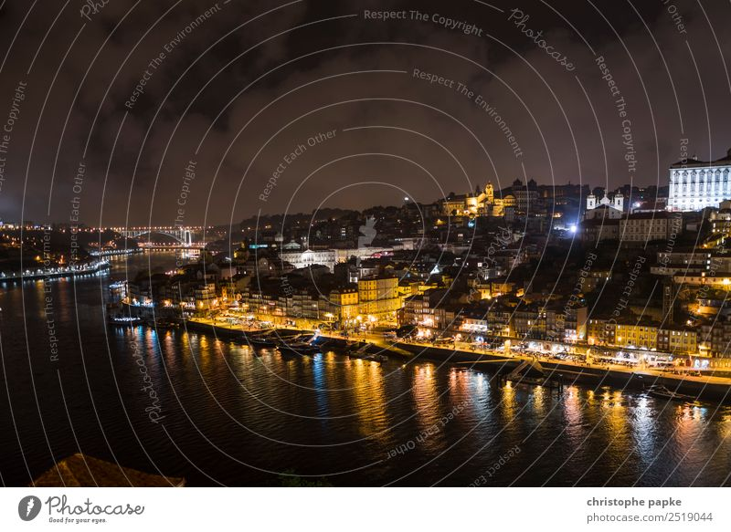 Postage at night Vacation & Travel Tourism Trip City trip Sky Clouds Night sky Coast River bank Douro Porto Town Port City Downtown Outskirts Old town Skyline