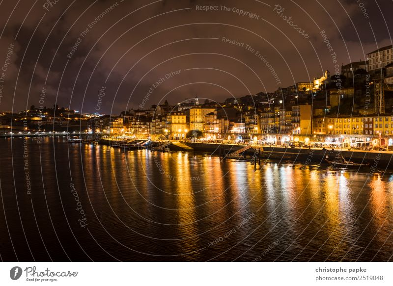 skyline of Porto at night Vacation & Travel City trip River bank Douro Portugal Town Downtown Old town Skyline House (Residential Structure) Tourist Attraction