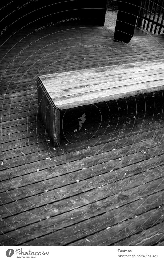 Winter is approaching Autumn Park Manmade structures Wooden board wood rust Wooden floor Wooden bench Bench Terrace Pavilion Cold Gray Black Moody Calm