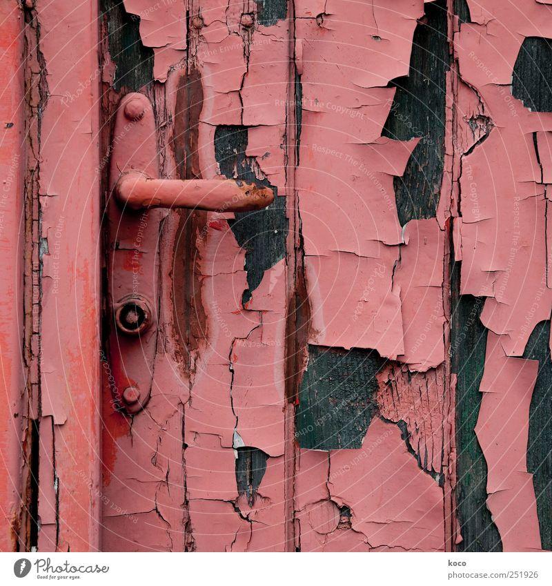 back door Hut Ruin Building Door Door lock Wood Metal Rust Old Broken Trashy Brown Red Black Past Transience Destruction Colour Colour photo Exterior shot