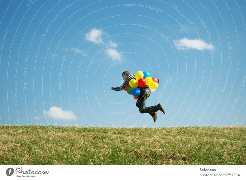 to take off Summer Human being Masculine 1 Environment Nature Landscape Sky Clouds Beautiful weather Plant Grass Meadow Aviation Clothing Balloon Flying Jump