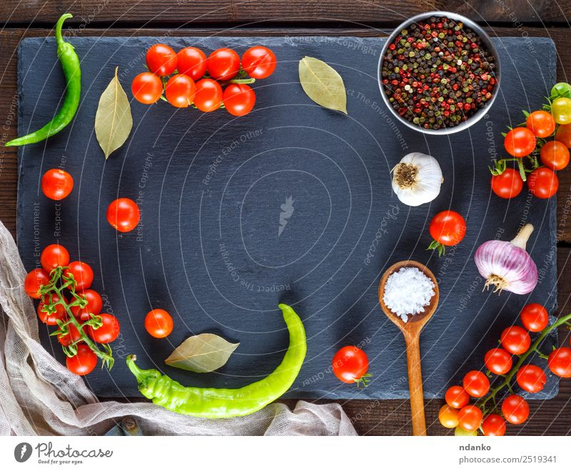 Ripe red cherry tomatoes Colour Red Black Eating Yellow Wood Copy Space Brown Above Fresh Herbs and spices Vegetable Tradition Cooking Mature Baked goods