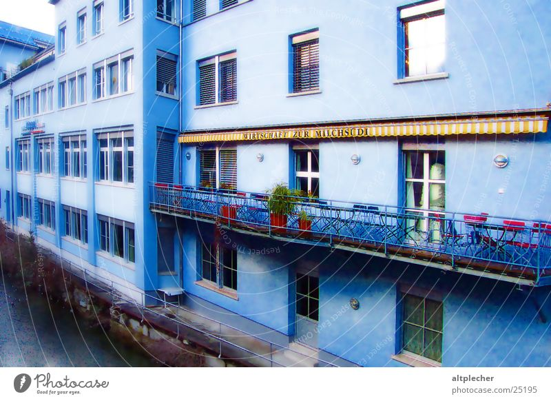blue house House (Residential Structure) Balcony Inn Window Architecture Blue Loneliness