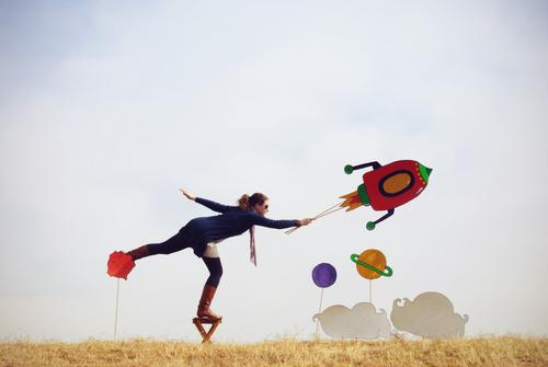 *400* Take off Leisure and hobbies Playing Human being 1 Environment Nature Cloudless sky Plant Grass Field Aviation Rocket Scarf Boots Flying Free Infinity
