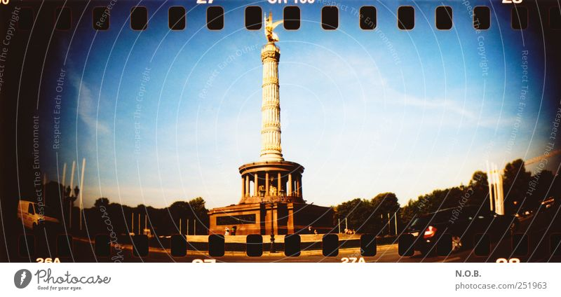 victory column Berlin Germany Europe Capital city Downtown Manmade structures Tourist Attraction Landmark Monument Victory column Success Blue Gold Black