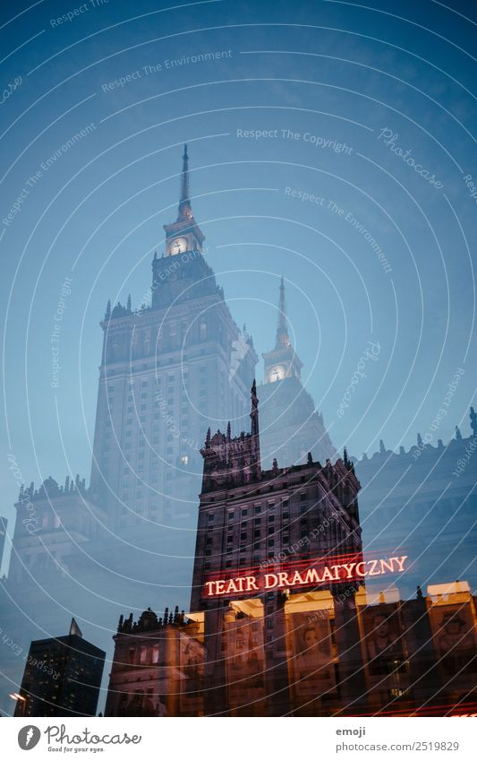 Warsaw I Town Capital city Downtown High-rise Tourist Attraction Exceptional Warszaw Theatre Double exposure Colour photo Exterior shot Experimental Abstract