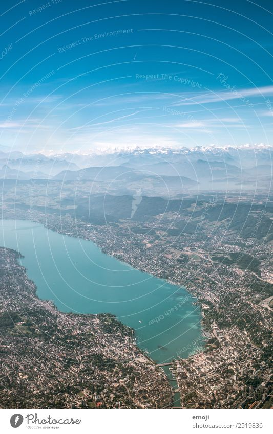 Lake Zurich Environment Earth Sky Alps Mountain Town Capital city Blue Aerial photograph Lake zurich Colour photo Multicoloured Exterior shot Day