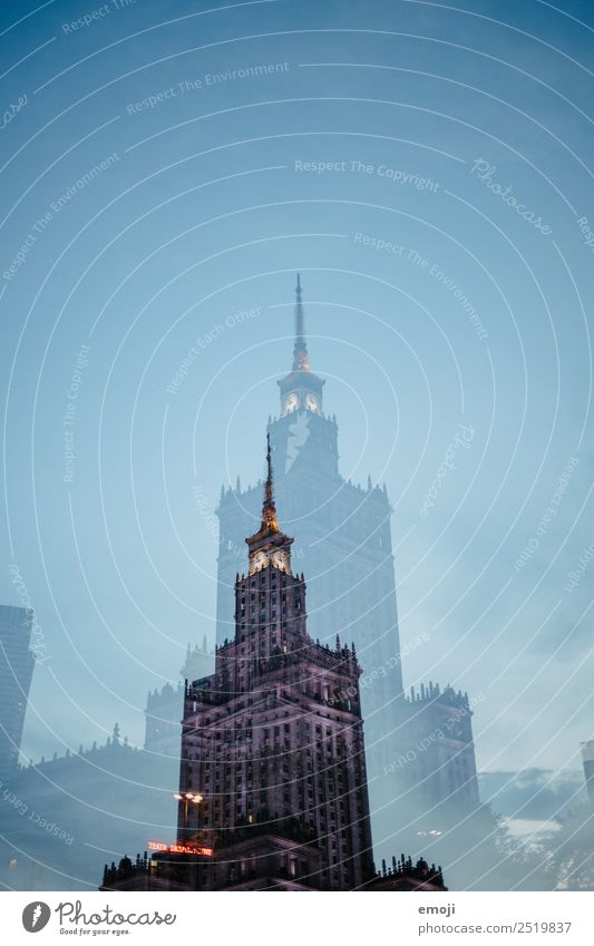 Warsaw X Sky Cloudless sky Town Capital city High-rise Bank building Building Architecture Tourist Attraction Landmark Exceptional Blue Double exposure Warszaw