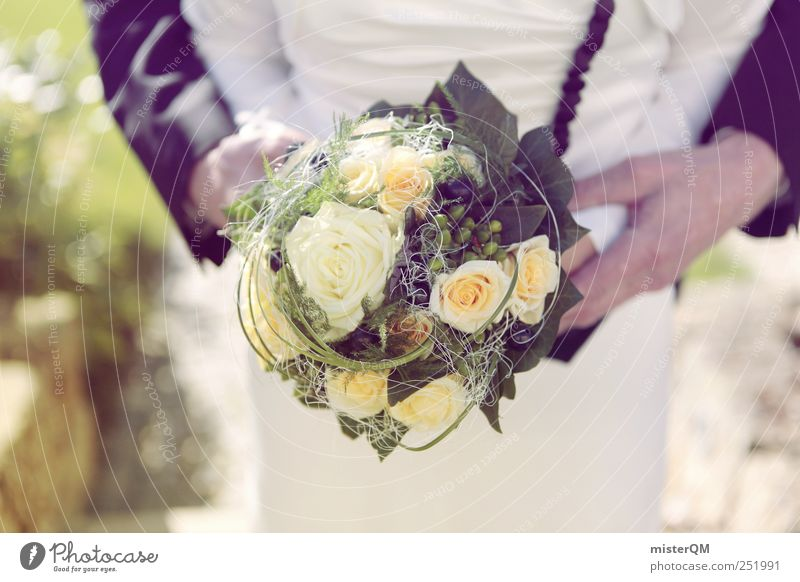 Woman Man Art Together Esthetic Wedding Romance To hold on Bouquet Relationship Bride Photo shoot Wedding couple Wedding dress Rose blossom Wedding ceremony