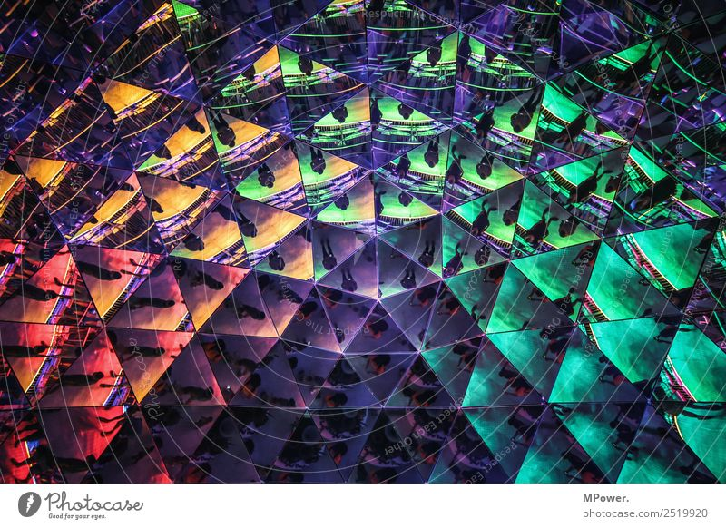 triangles Architecture Blue Mirror Multicoloured Triangle Mirror image Colour photo Interior shot Pattern Structures and shapes Light Reflection