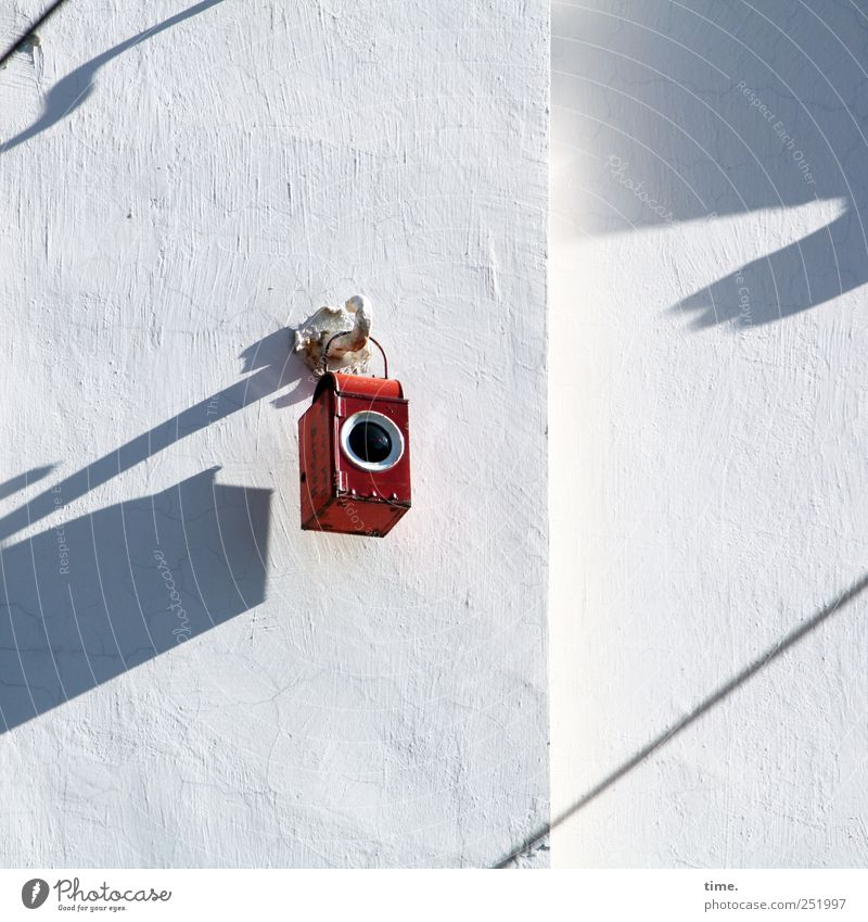 Small red pinhole camera | ChamanSülz Lamp Wall (barrier) Wall (building) Toys Tin Metal Hang Exceptional Round Red White Mysterious Whimsical storm lamp