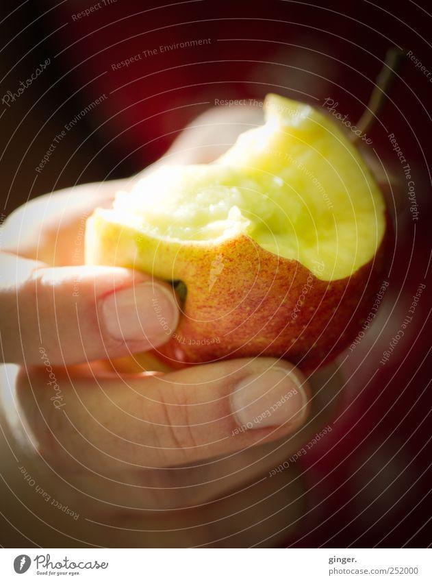 The temptation [CHAMANSÜLZ 2011] Hand Fingers Eating Apple bitten into bitten off Offer Delicious Fruit Colour photo Multicoloured Exterior shot Close-up Detail
