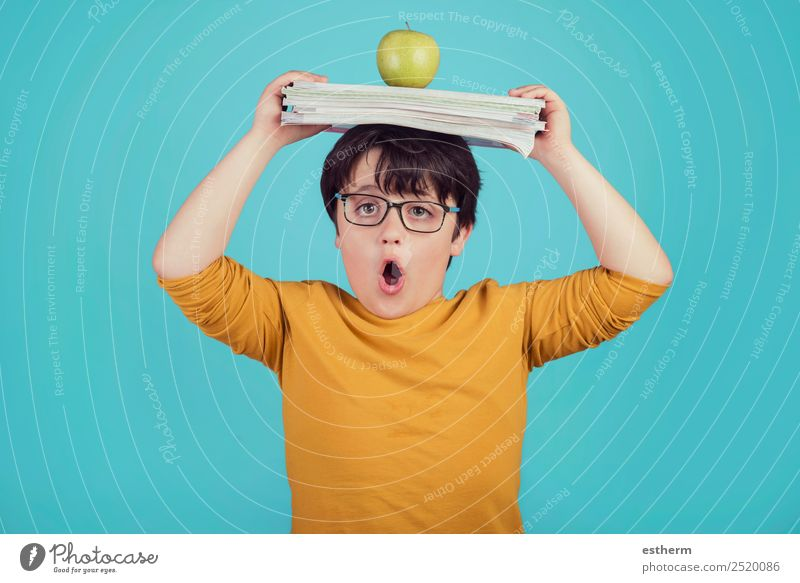 little boy with green apple and books Child Human being Relaxation Joy Lifestyle Funny School Fruit Masculine Infancy Smiling Happiness Study Fitness Book