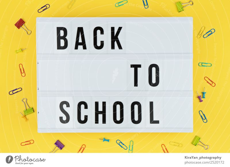 Lightbox with text BACK TO SCHOOL on yellow background Shopping Style Design Desk Table School Academic studies Workplace Office Autumn Accessory Above Yellow
