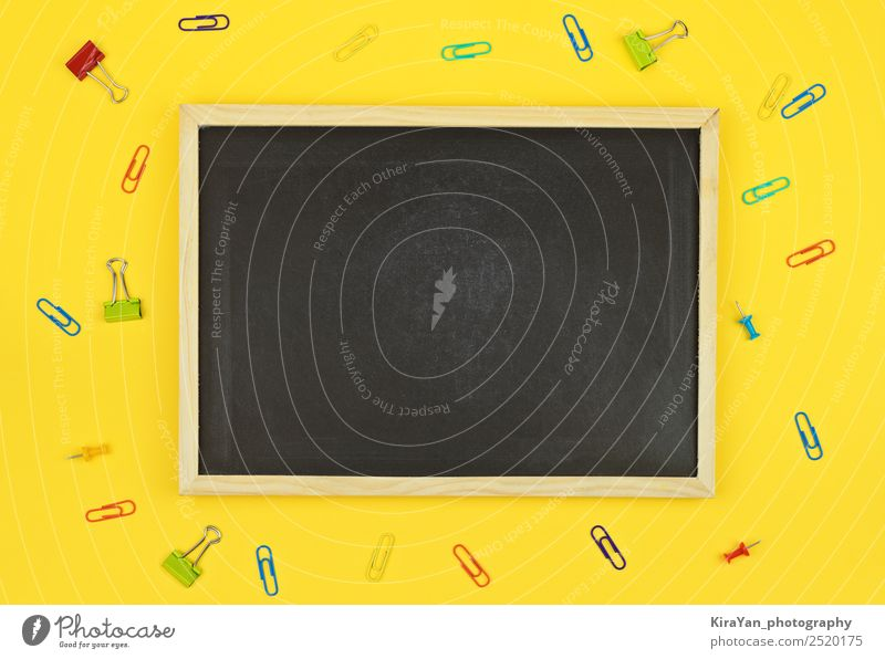 Empty chalkboard blackboard with copy space for text on yellow Shopping Design Desk School Blackboard Academic studies Workplace Office Economy Autumn Accessory